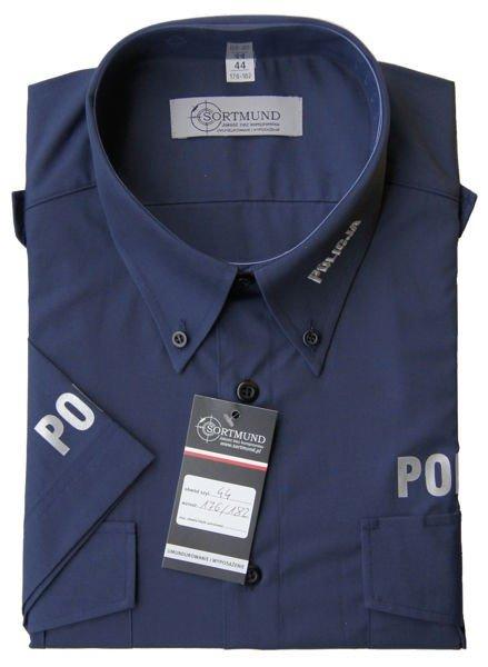 Koszula Policja granatowa z krótkim rękawem | sklep SORTMUND.pl  63QpT
